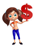 Kid girl with dollar sign Stock Images