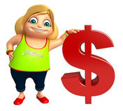 Kid girl with Dollar sign Royalty Free Stock Photography