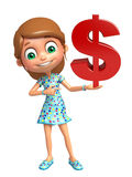 Kid girl with dollar sign Stock Photography