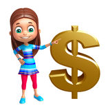 Kid girl with dollar sign Royalty Free Stock Image