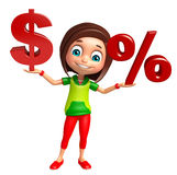Kid girl with dollar sign and Percentage sign Royalty Free Stock Photography