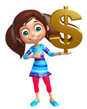Kid girl with Doller sign Royalty Free Stock Image
