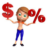 Kid girl with Doller sign and Percentage sign Royalty Free Stock Images