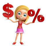 Kid girl with Doller sign and Percentage sign Royalty Free Stock Image