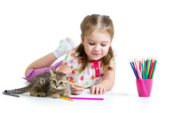 Kid girl drawing with color pencils Royalty Free Stock Photo