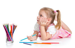 Kid girl drawing with color pencils Royalty Free Stock Photos