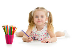Child girl drawing with pencils Royalty Free Stock Image