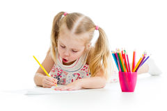 Kid girl drawing pencils Stock Images