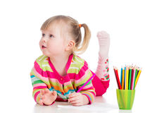Kid girl drawing pencils Royalty Free Stock Photo