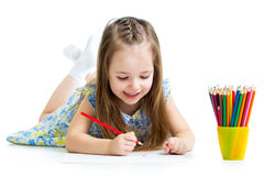 Kid girl drawing with pencils Stock Photography