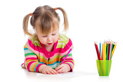 Kid girl drawing pencils Stock Photo