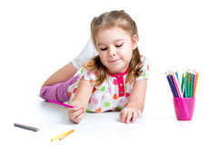 Kid girl drawing with pencils Stock Photo