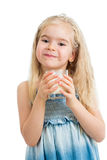 Kid girl drinking yogurt or milk. Kid girl drinking yoghurt or kefir or milk Royalty Free Stock Photo
