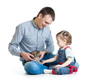 Kid girl and father play with cat kitten Stock Images
