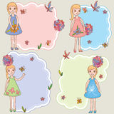 Kid girl feminine space card template Royalty Free Stock Photos