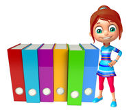 Kid girl with Files Stock Image