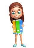 Kid girl with Files Royalty Free Stock Images