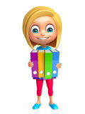 Kid girl with Files Stock Images