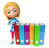 Kid girl with Files Royalty Free Stock Photography