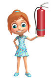 Kid girl with  fire extinguisher. 3d rendered illustration of kid girl with fire extinguisher Royalty Free Stock Image