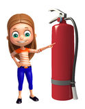 Kid girl with  fire extinguisher. 3d rendered illustration of kid girl with fire extinguisher Stock Photography