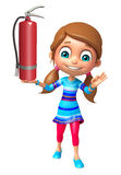 Kid girl with  fire extinguisher. 3d rendered illustration of kid girl with fire extinguisher Stock Photos