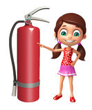 Kid girl with  fire extinguisher Stock Photos