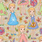 Kid girl flower seamless pattern Stock Photos