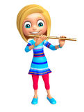 Kid girl with Flute. 3d rendered illustration of Kid girl with Flute Stock Photography