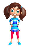 Kid girl with Funny pose. 3d rendered illustration of Kid girl with Funny pose Royalty Free Stock Photos