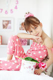 Kid girl with gift boxes Royalty Free Stock Photo