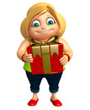 Kid girl with Giftbox Stock Image