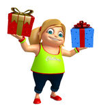 Kid girl with Giftbox. 3d rendered illustration of kid girl with Giftbox Stock Photo