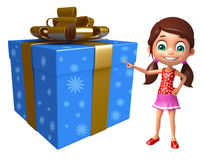 Kid girl with Giftbox Royalty Free Stock Photos