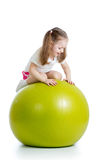 Kid girl with gymnastic ball Royalty Free Stock Photo