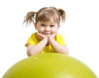 Kid girl with  gymnastic ball isolated Royalty Free Stock Photo