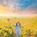 Kid girl in happy autumn vineyard field open arms with red leaf Stock Photography