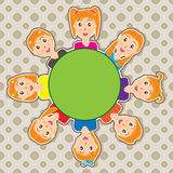 Kid Girl Happy Face Circle_eps Stock Images