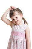 Kid girl having bad mood isolated Stock Photo