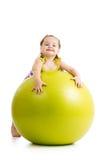 Kid girl having fun with gymnastic ball Stock Image