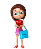Kid girl with Heart and schoolbag Royalty Free Stock Photos