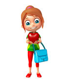 Kid girl with Heart and schoolbag Stock Image
