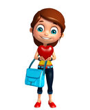 Kid girl with Heart and schoolbag Stock Images