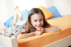 Kid girl with her pet Stock Photo