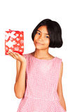 Kid girl hold red gift box Royalty Free Stock Images