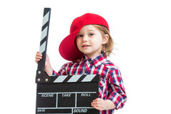 Kid girl holding clapper board in hands isolated Royalty Free Stock Image