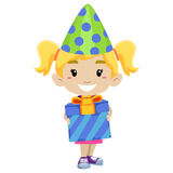 Kid Girl Holding a Gift and wearing Birthday Party Hat Stock Image