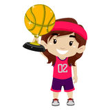 Kid Girl holding Gold Basketball Trophy Royalty Free Stock Images