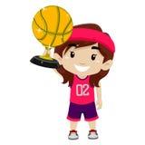 Kid Girl holding Gold Basketball Trophy royalty free illustration