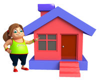 Kid girl with Home. 3d rendered illustration of kid girl with Home Stock Photo